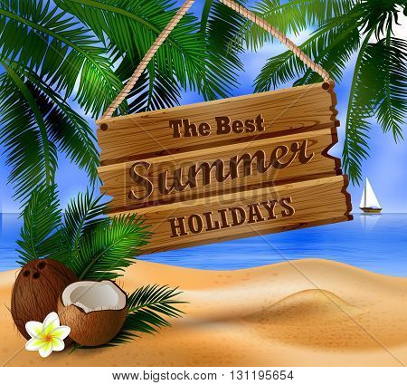 hanging wooden board on tropical background and exotic cocnuts