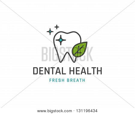 Dental health icon or logo template. Tooth with leaf line sign. Vector