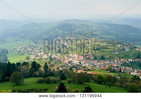 Wangenbourg-Engenthal Alsace aerial village in East of France