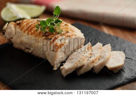 Slices of roasted turkey meat