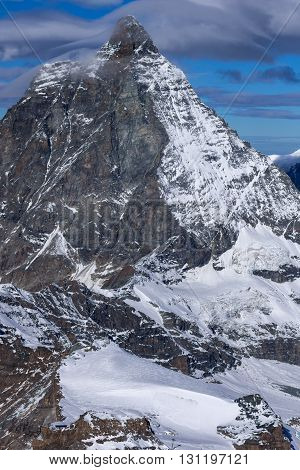 Panoramic view of mount Matterhorn, Canton of Valais, Alps, Switzerland