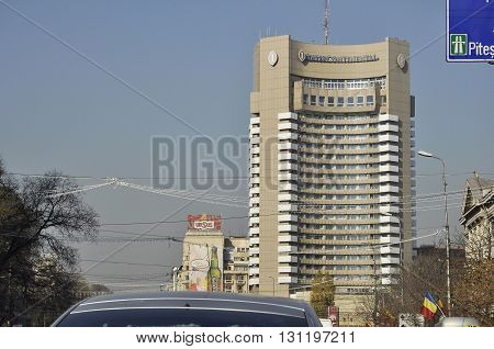 BUCHAREST ROMANIA - NOV 28 2008: Intercontinental hotel in the center of Bucharest Romania