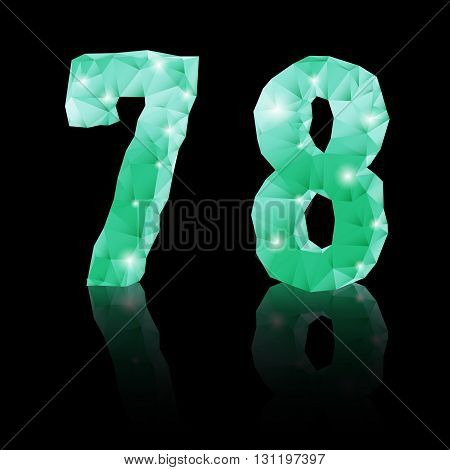 Shiny emerald green polygonal font with reflection on black background. Crystal style 7 and 8 numerals