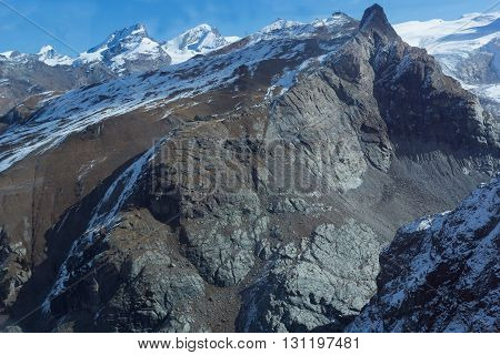 Rocky slopes of the Swiss Alps near Zermatt, Switzerland