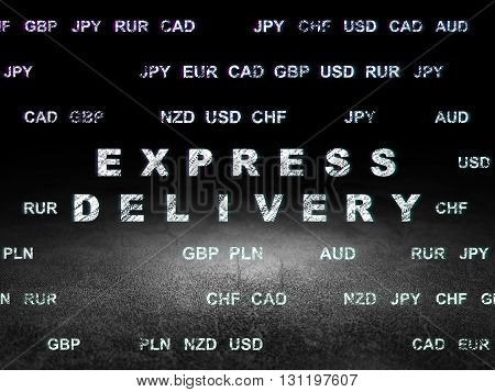 Finance concept: Glowing text Express Delivery in grunge dark room with Dirty Floor, black background with Currency