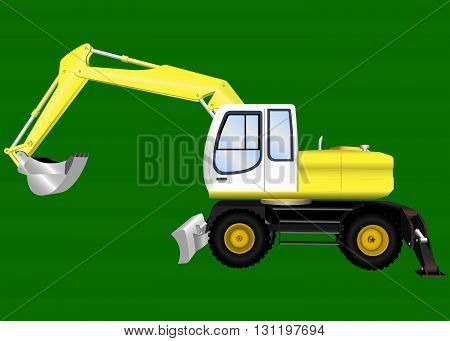 Construction digger with bucket on green background