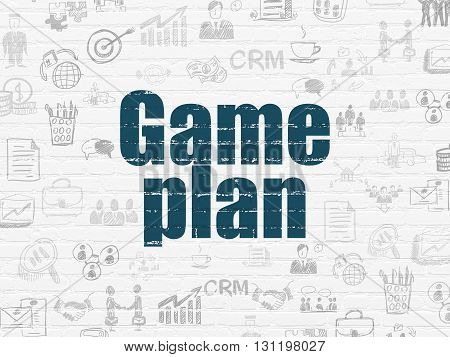 Finance concept: Painted blue text Game Plan on White Brick wall background with  Hand Drawn Business Icons