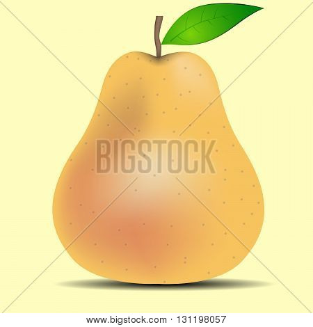 One ripe pear with leaves on a beige background