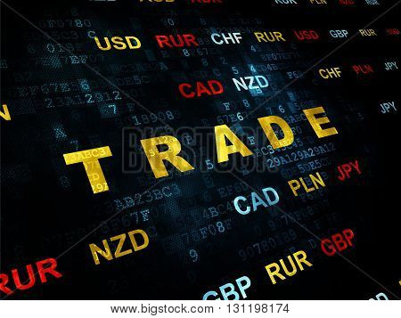 Finance concept: Pixelated yellow text Trade on Digital wall background with Currency