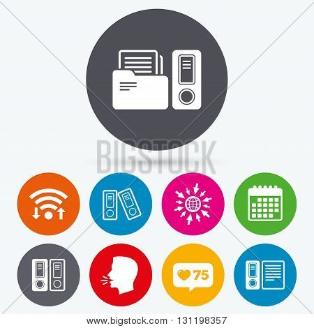 Wifi, like counter and calendar icons. Accounting icons. Document storage in folders sign symbols. Human talk, go to web.