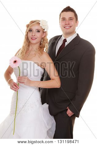 Wedding day. Portrait of happy bride and groom couple isolated on white. Man expressing his tender feelings.