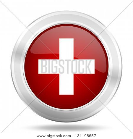plus icon, red round metallic glossy button, web and mobile app design illustration