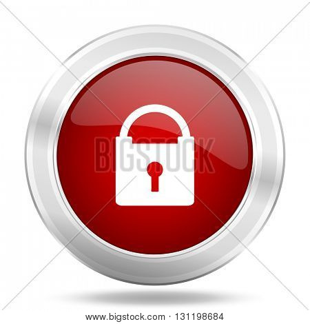 padlock icon, red round metallic glossy button, web and mobile app design illustration