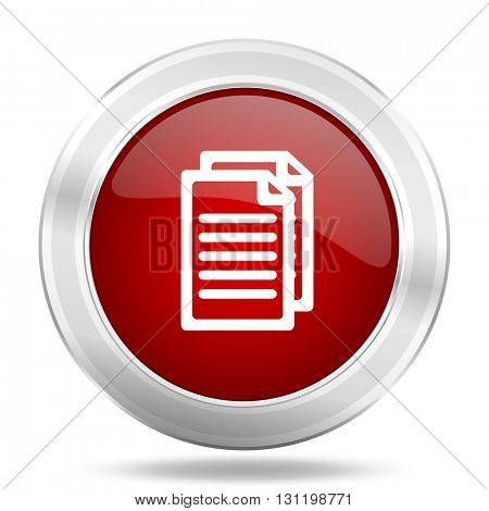 document icon, red round metallic glossy button, web and mobile app design illustration