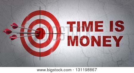 Success business concept: arrows hitting the center of target, Red Time is Money on wall background, 3D rendering