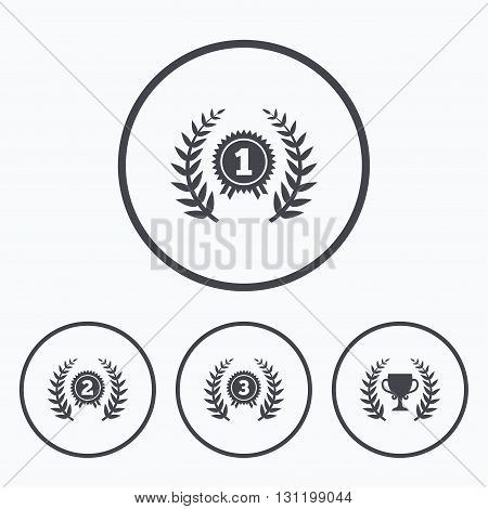Laurel wreath award icons. Prize cup for winner signs. First, second and third place medals symbols. Icons in circles.