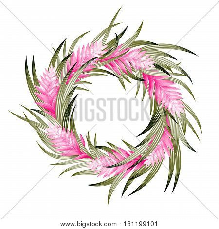 vector tropical wreath with heliconia and exotic leaves