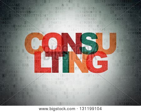 Business concept: Painted multicolor text Consulting on Digital Data Paper background