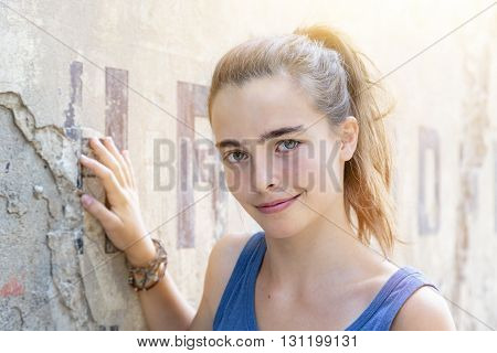 portrait of a beautiful girl in summer
