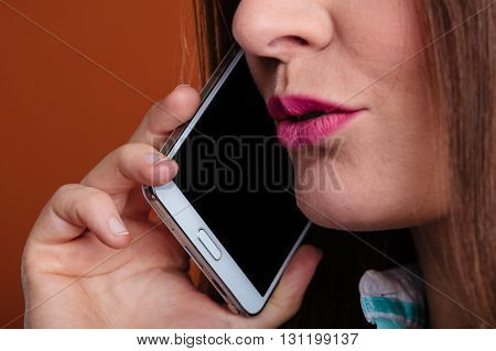 Emotions communication and message technology. Young happy woman talk make a phone call smiling.