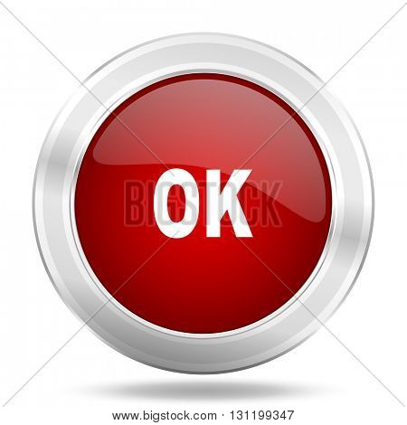ok icon, red round metallic glossy button, web and mobile app design illustration