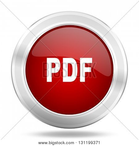 pdf icon, red round metallic glossy button, web and mobile app design illustration
