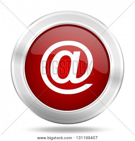 email icon, red round metallic glossy button, web and mobile app design illustration
