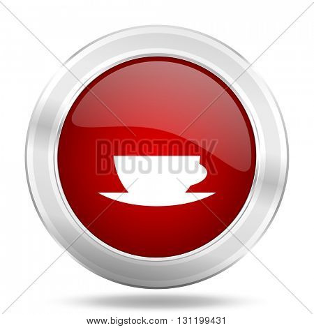 espresso icon, red round metallic glossy button, web and mobile app design illustration