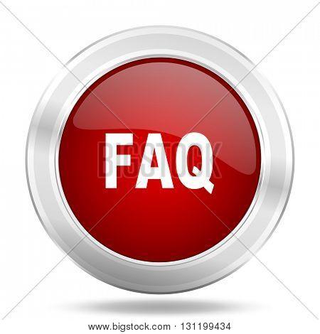 faq icon, red round metallic glossy button, web and mobile app design illustration