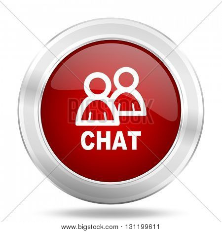 chat icon, red round metallic glossy button, web and mobile app design illustration