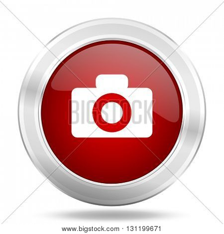camera icon, red round metallic glossy button, web and mobile app design illustration