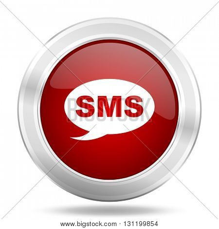 sms icon, red round metallic glossy button, web and mobile app design illustration