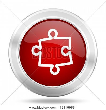 puzzle icon, red round metallic glossy button, web and mobile app design illustration