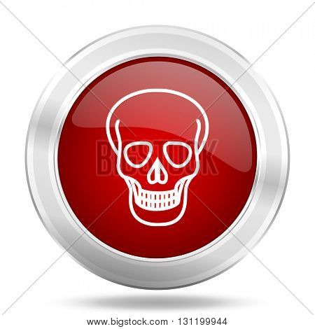 skull icon, red round metallic glossy button, web and mobile app design illustration