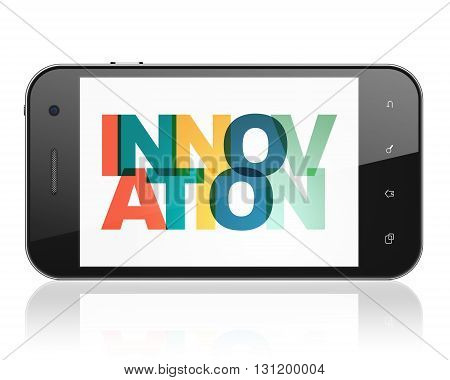Business concept: Smartphone with Painted multicolor text Innovation on display, 3D rendering