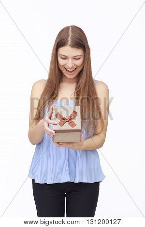 Young woman portrait happy to receive gift