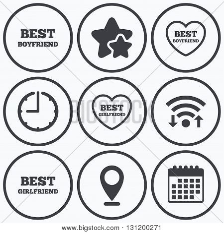 Clock, wifi and stars icons. Best boyfriend and girlfriend icons. Heart love signs. Award symbol. Calendar symbol.