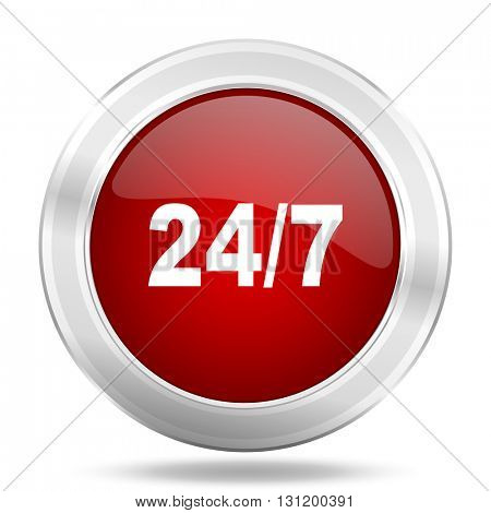 24/7 icon, red round metallic glossy button, web and mobile app design illustration