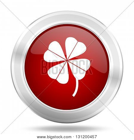 four-leaf clover icon, red round metallic glossy button, web and mobile app design illustration