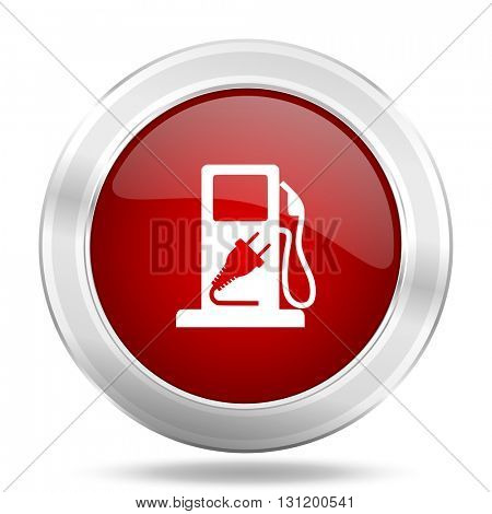 fuel icon, red round metallic glossy button, web and mobile app design illustration