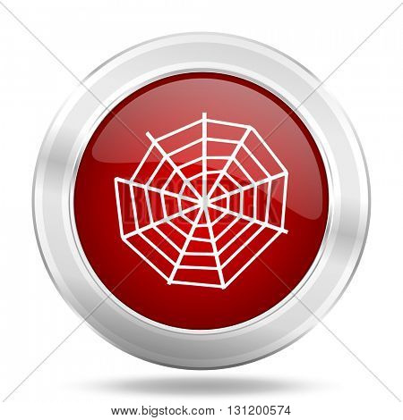 spider web icon, red round metallic glossy button, web and mobile app design illustration
