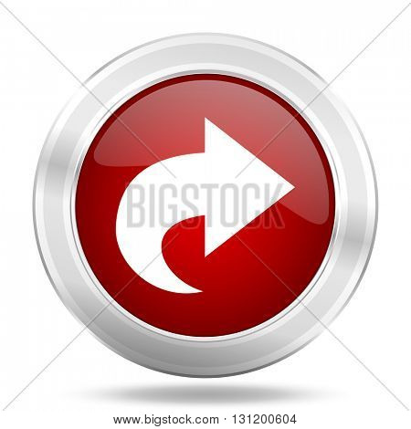 next icon, red round metallic glossy button, web and mobile app design illustration