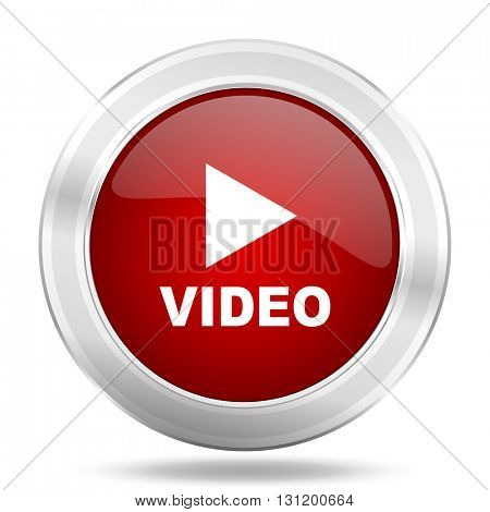 video icon, red round metallic glossy button, web and mobile app design illustration