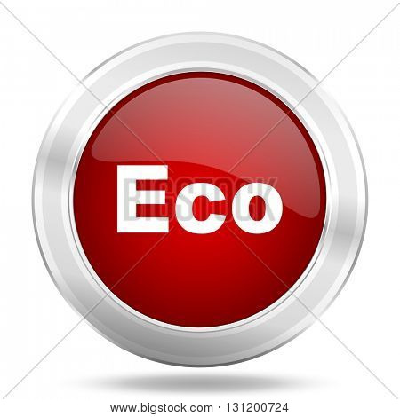 eco icon, red round metallic glossy button, web and mobile app design illustration