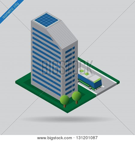 isometric city - bus on road dashed line building with solar panels and trees