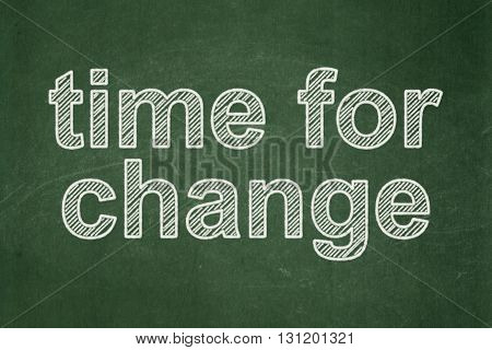 Timeline concept: text Time for Change on Green chalkboard background