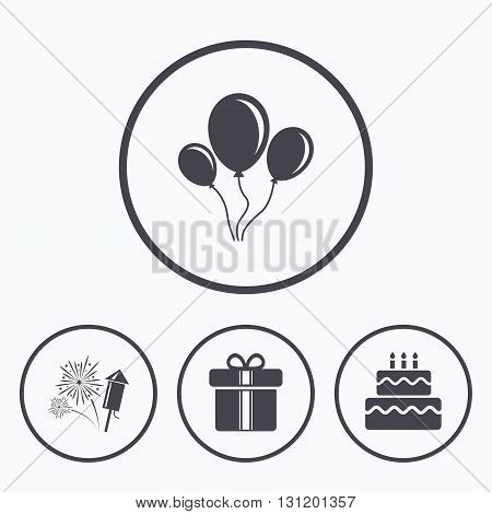Birthday party icons. Cake and gift box signs. Air balloons and fireworks symbol. Icons in circles.