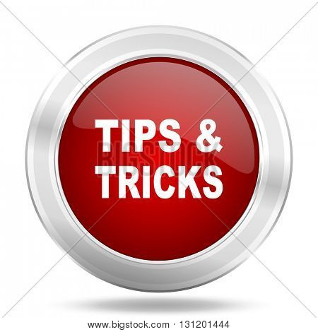 tips tricks icon, red round metallic glossy button, web and mobile app design illustration