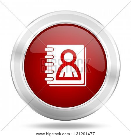 address book icon, red round metallic glossy button, web and mobile app design illustration