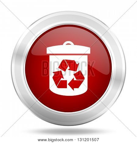 recycle icon, red round metallic glossy button, web and mobile app design illustration